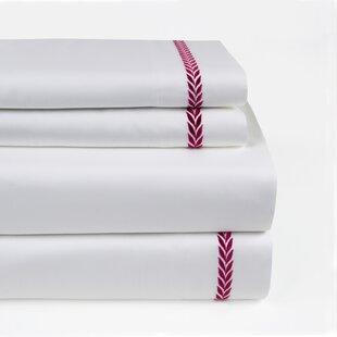 Longshore Tides Proctor Leaf Embroidered 300 Thread Count 100% Cotton Sheet Set