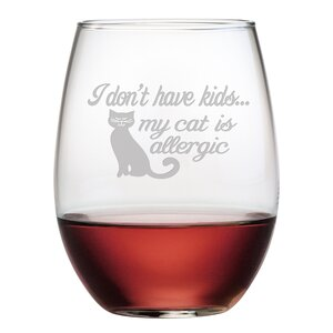 Cat Is Allergic 21 oz. Stemless Wine Glass (Set of 4)