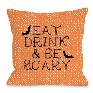 Eat, Drink, Be Scary Dots Throw Pillow
