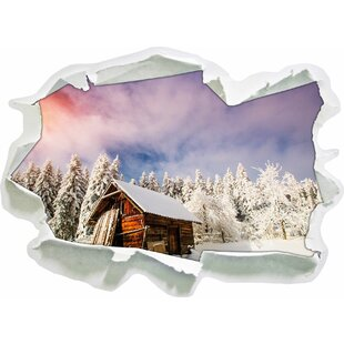 Wooden Hut In Snow Wall Sticker By East Urban Home