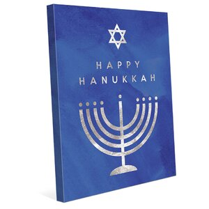 'Happy Hanukkah - Menorah' Graphic Art on Wrapped Canvas