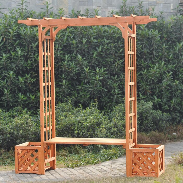 Sunjoy Wooden Trellis Arch Wood Arbour with Bench and Planter