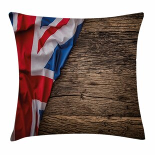 Union Jack Flag On Oak Board Square Pillow Cover