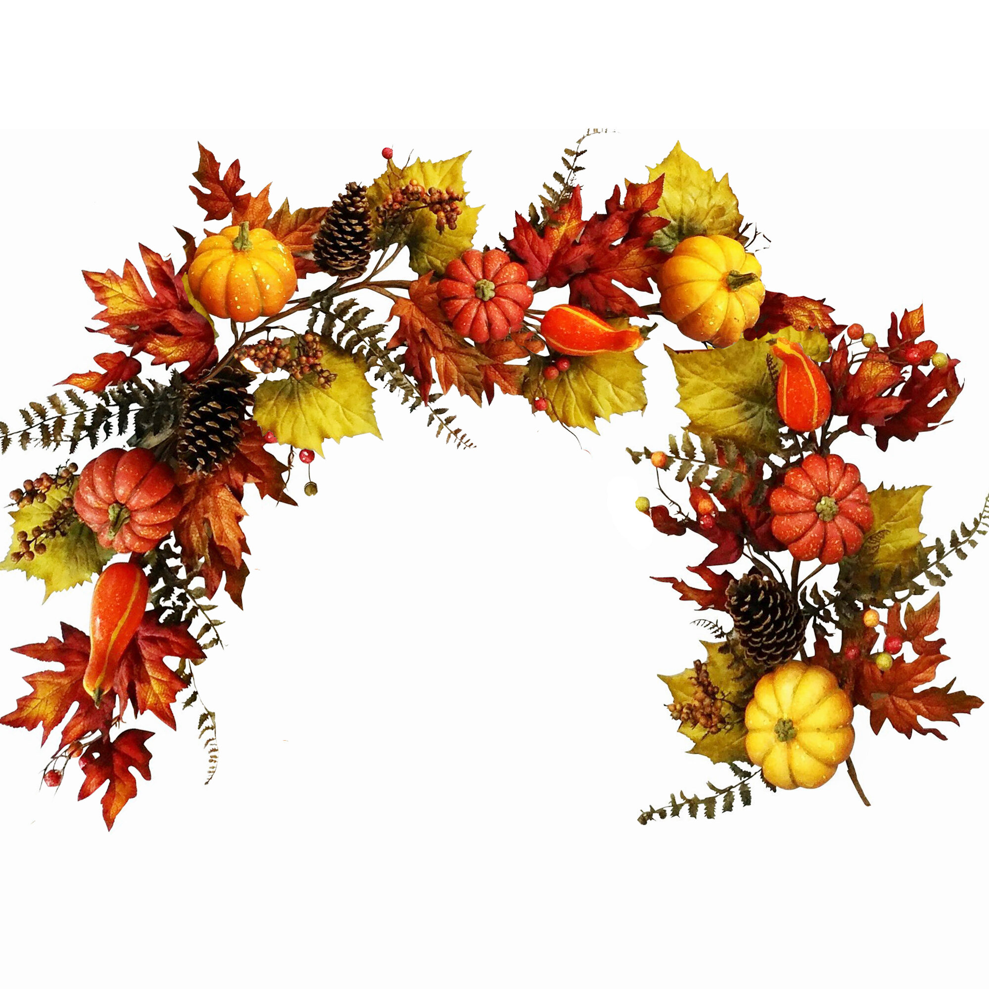 Decorative Swags 6 Foot Fall Maple Leaf Garland With Berries Sunflower Pumpkin Fall Garland Hanging Vine Decoration Autumn Fall Wedding Party Thanksgiving Home Decor Home Kitchen