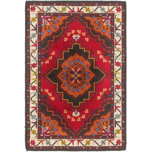 Inexpensive One-of-a-Kind Ilfracombe Hand-Knotted 3'10 x 5'8 Wool Red/Beige Area Rug By Isabelline