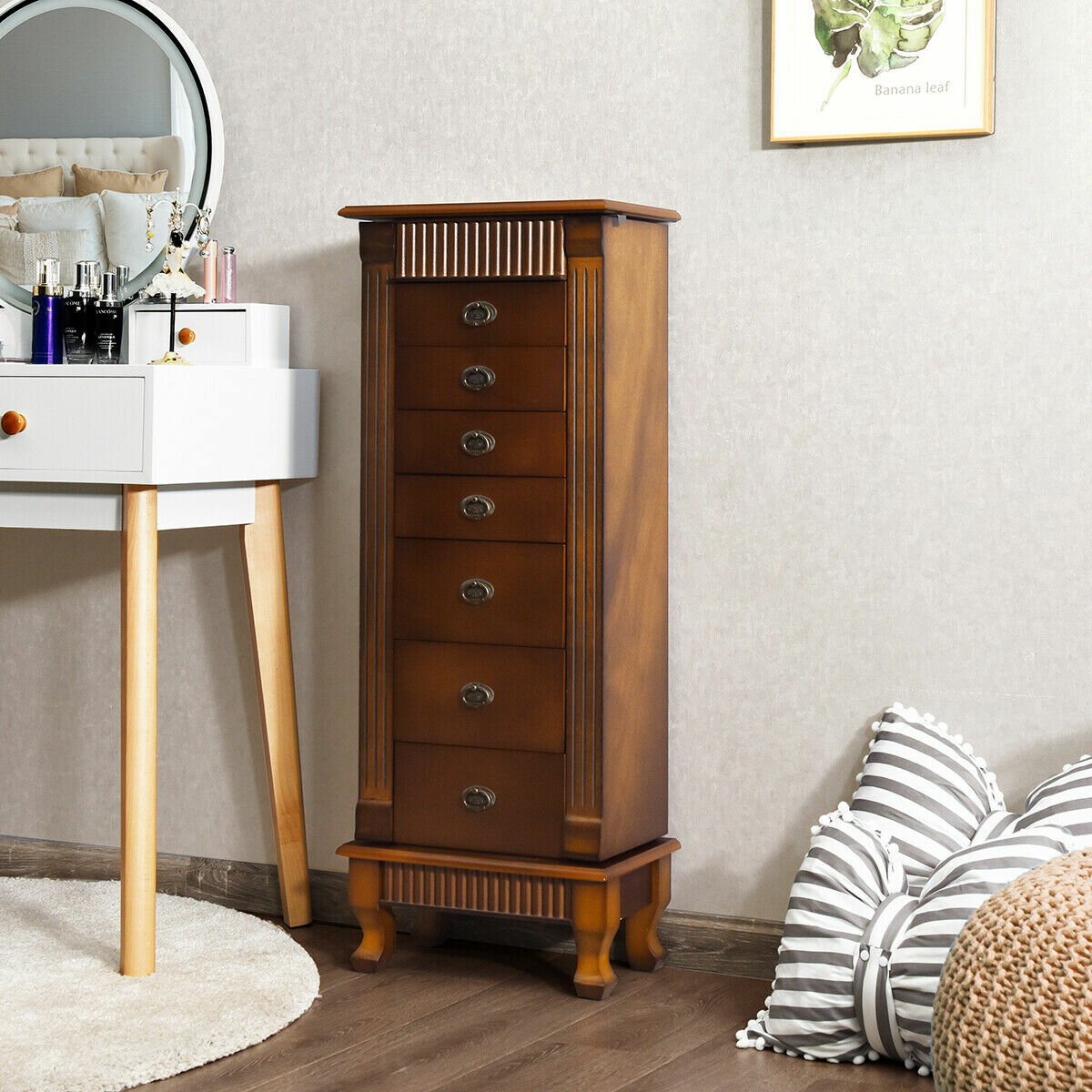 Image of: Canora Grey Melitta Wood Free Standing Jewelry Armoire With Mirror Reviews Wayfair
