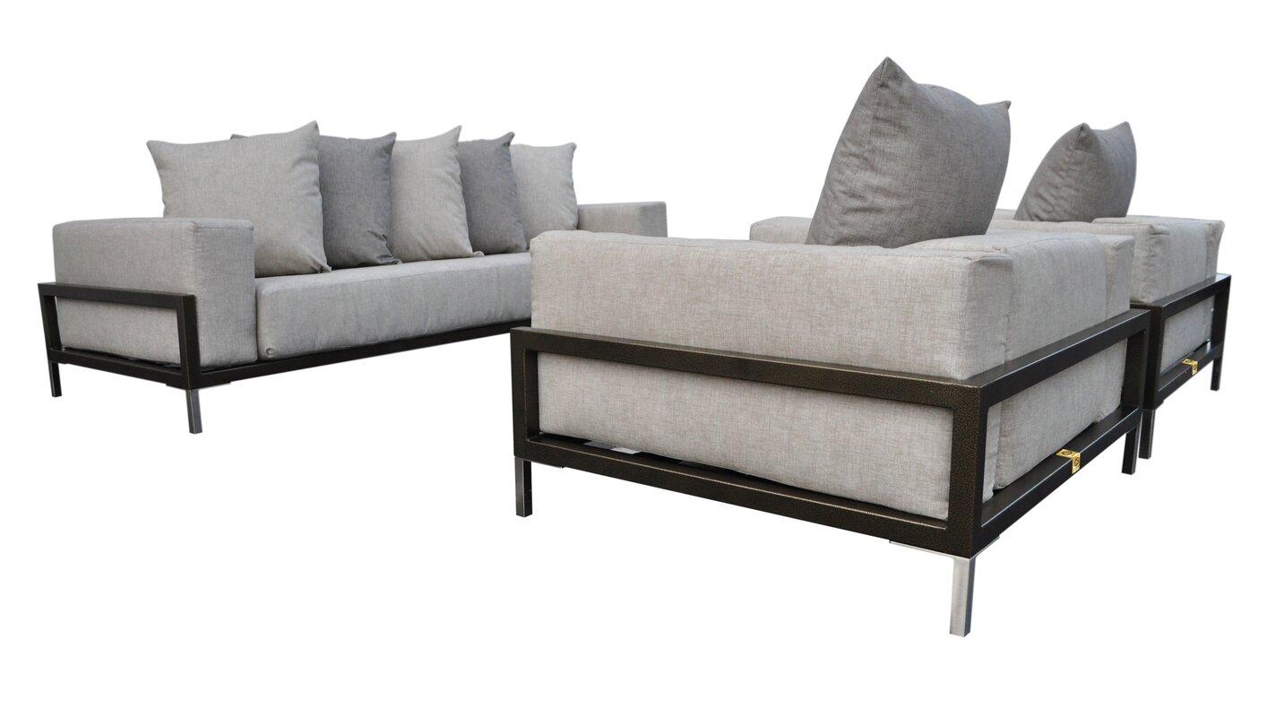 Nubis 3 Piece Sunbrella Sofa Set With Cushions