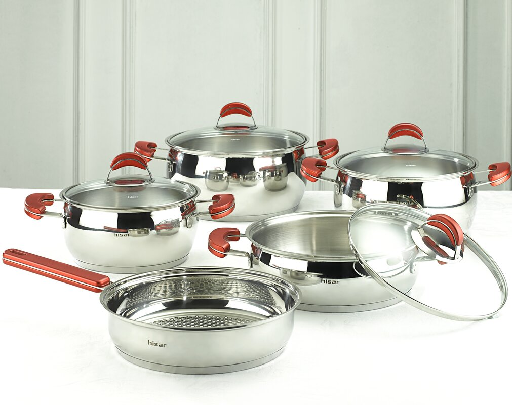 HISR Monaco 9 Piece Stainless Steel Cookware Set & Reviews | Wayfair