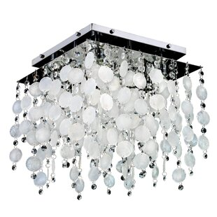 Glow Lighting Cityscape Capiz Shell and Crystal 4-Light Flush Mount