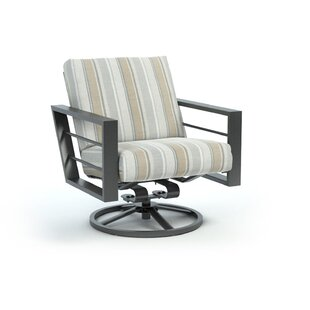 Funk Trusted Fog Low Back Rocker Chat Swivel Patio Chair with Sunbrella Cushions