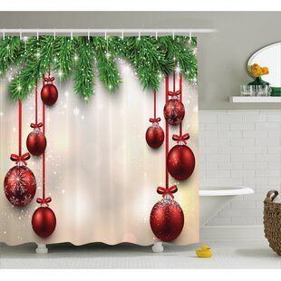 Price comparison Christmas Red Balls Ribbons Shower Curtain By The Holiday Aisle
