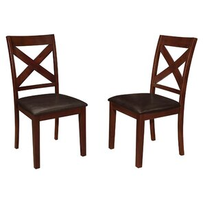 Baremeadow Genuine Leather Upholstered Dining Chair (Set of 2) by Darby Home Co