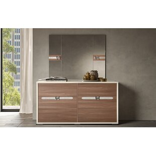 Redondo Modern Style 6 Drawer Double Dresser with Mirror