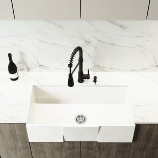 Front Matte Stone 36 L x 18 W Farmhouse Kitchen Sink with Faucet