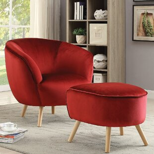 Koerner Barrel Chair and Ottoman by Everly Quinn