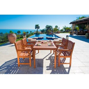 Vifah Outdoor Wood English Garden 5 Piece Dining Set