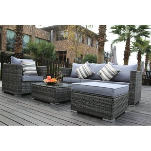 Luitwin Garden Furniture 5 Seater Rattan Sofa Set With Cushions By Kampen Living