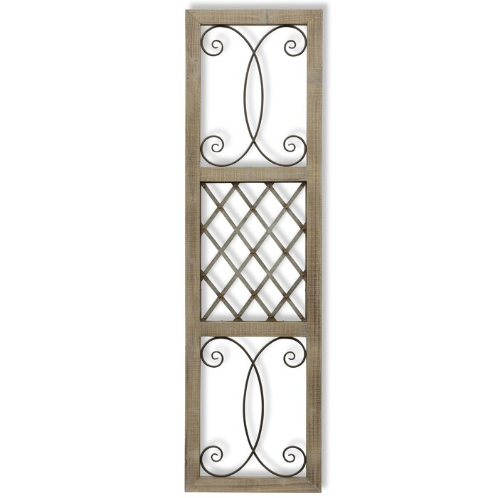 Traditional Rectangle Aspire Scroll Metal And Wood Wall Décor