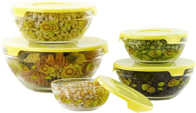 Stackable Glass 5 Container Food Storage Set