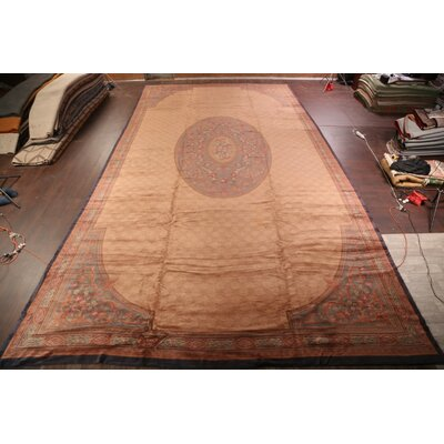 Marita Aubusson Savonnerie French Oriental Hand Knotted Wool BrownRed Area Rug Bloomsbury Market