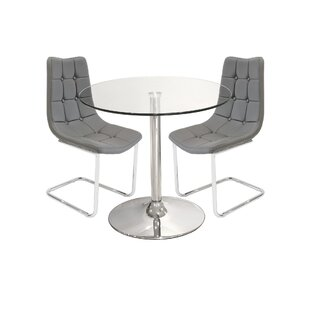 Cushman Glass Dining Set With 2 Chairs By Metro Lane