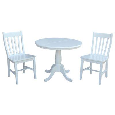 Petra Extendable Pedestal 3 Piece Solid Wood Bistro Set August Grove Color: White