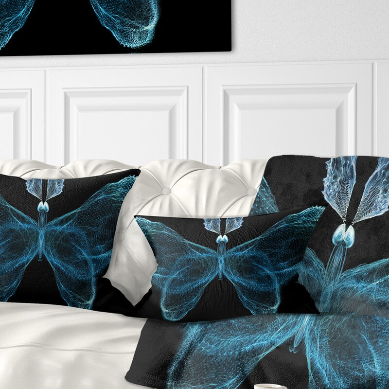 East Urban Home Abstract Fractal Butterfly In Dark Lumbar Pillow Wayfair