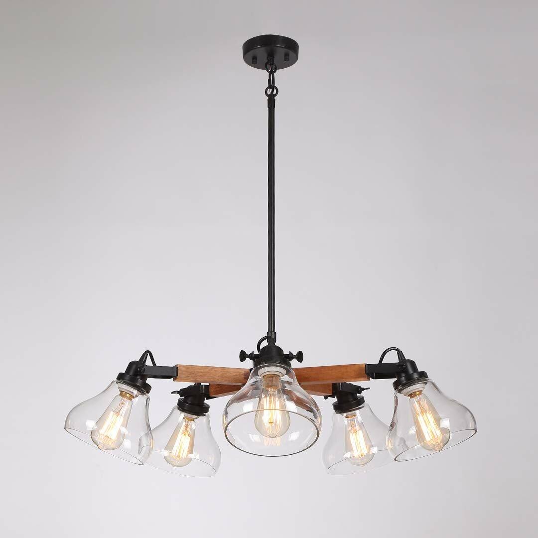 Union Rustic Garold 5 Light Shaded Modern Linear Chandelier Wayfair
