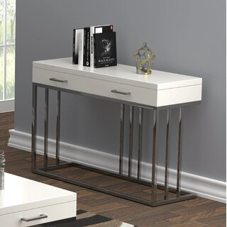 2-Drawer Rectangular Sofa Table Glossy White And Chrome by Orren Ellis SKU:CB312479 Check Price