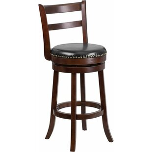 Jenkin 30'' Ladder Back Swivel Bar Stool Charlton Home