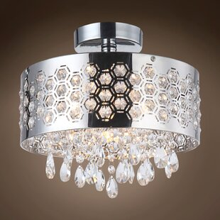 Alexa 4-Light Crystal Semi Flush Mount by Everly Quinn
