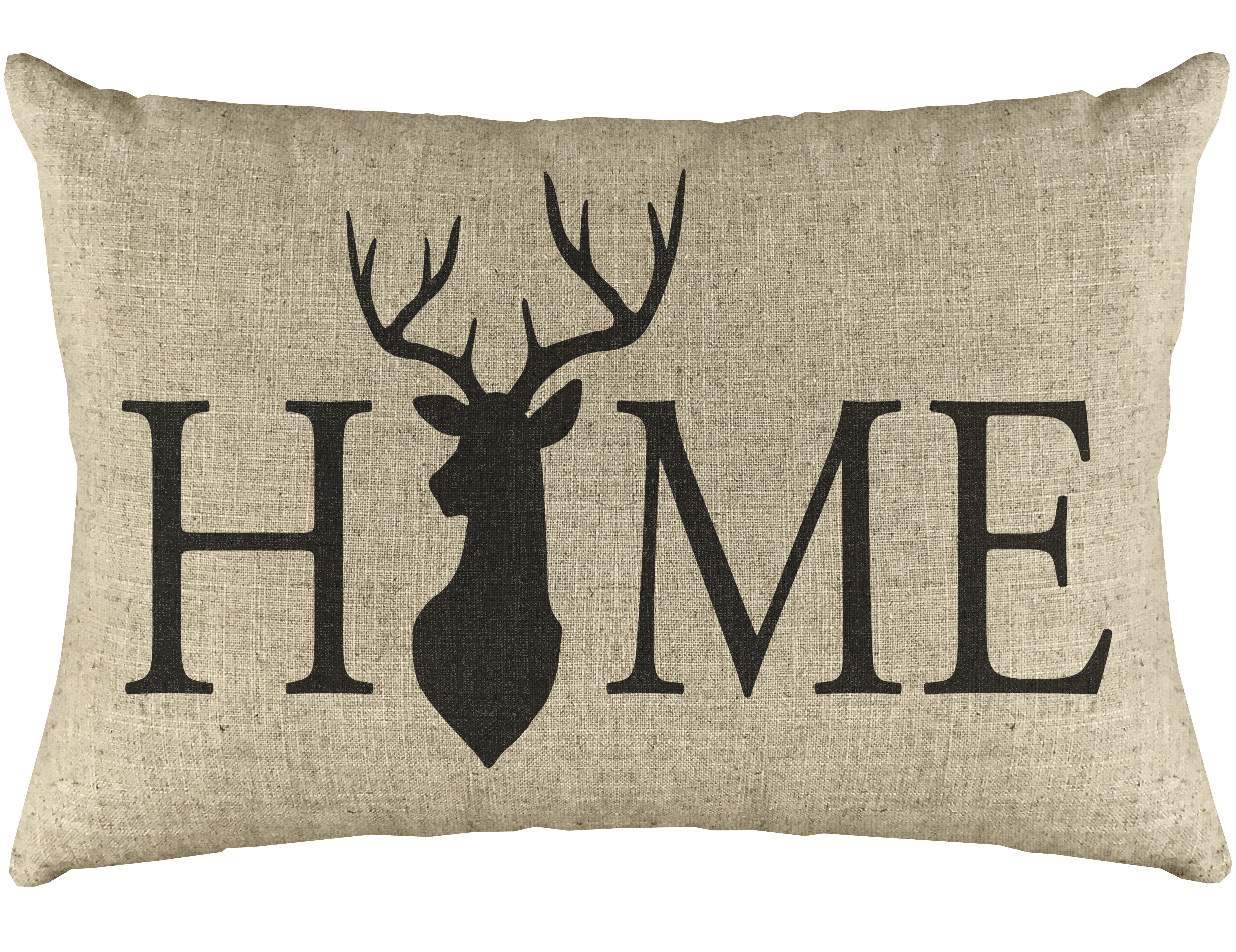 Millwood Pines Conte Home Deer Linen Lumbar Pillow Reviews Wayfair
