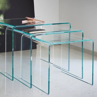 3 Piece Nesting Tables by Fab Glass and Mirror