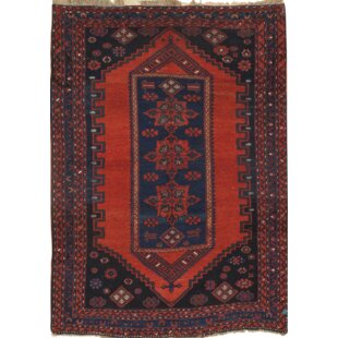 Hand-Knotted Wool Red/Blue Wool Area Rug