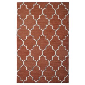 Wool Hand-Tufted Rust/Ivory Area Rug