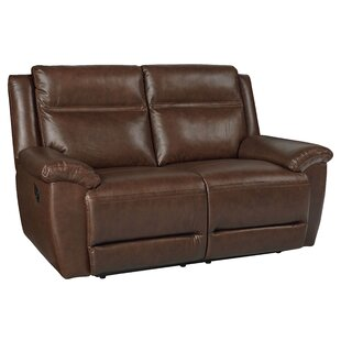 Loon Peak Maricopa Manual Motion Leather Reclining Loveseat