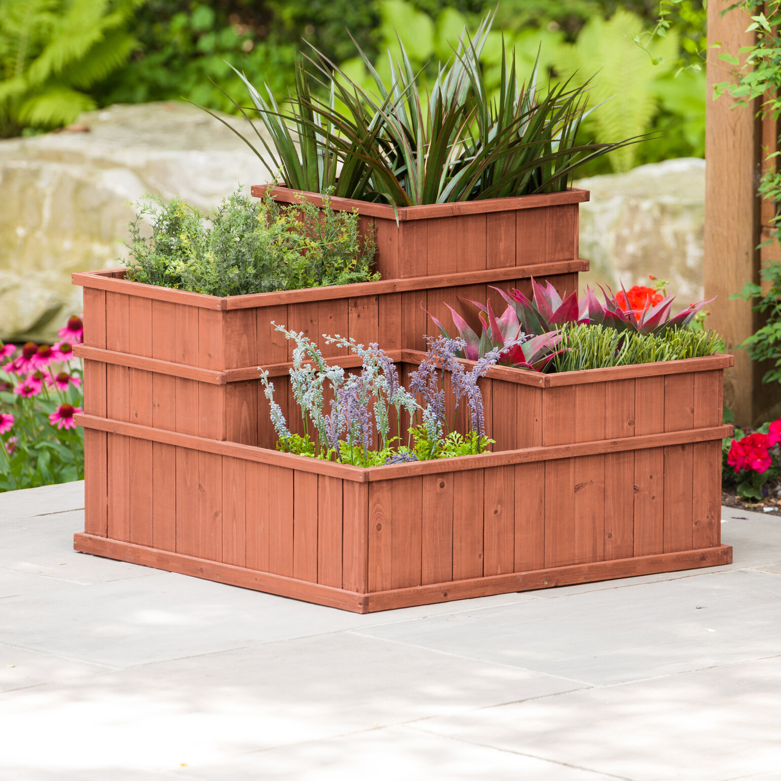 Vertical Elevated Outdoor Planter Box For Vegetable Herb Flower Succulent 4 Tier Raised Garden Bed With