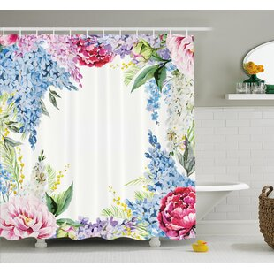 Comparison Flower Springtime Fragrance Garland with Bunch of Flowers Lilac Lavender Rose Peony Artsy Print Shower Curtain Set ByAmbesonne