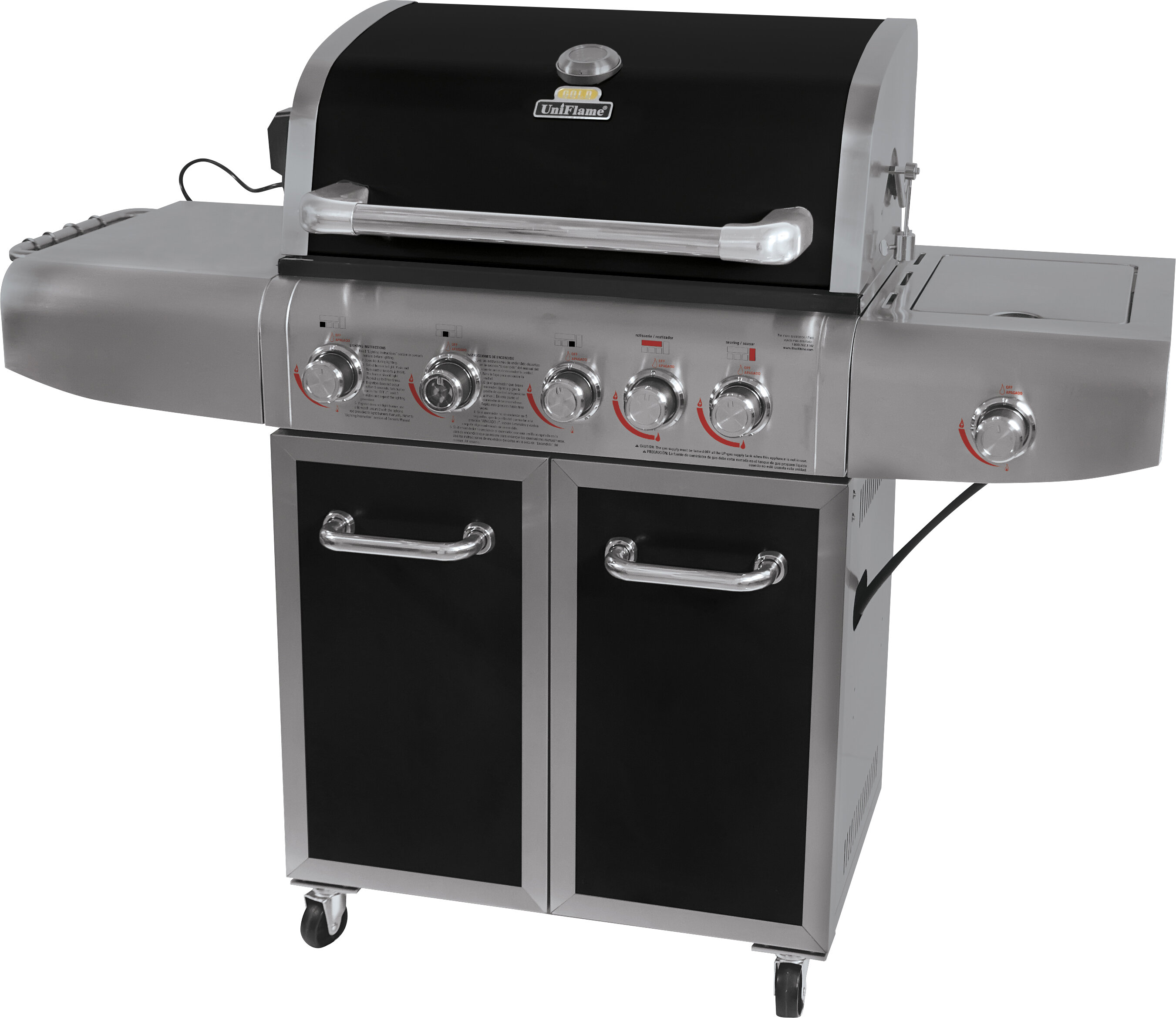 Grill Cabinet: Uniflame Barbecue 6-Burner Propane Gas Grill With Cabinet