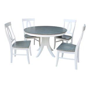Brenden Pedestal 5 Piece Solid Wood Dining Set