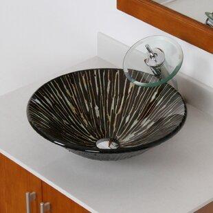 Online Reviews Contrasting Trickles Hand Painted Fanfare Glass Circular Vessel Bathroom Sink By Elite