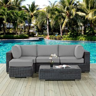 Brayden Studio Alaia 5 Piece Rattan Sunbrella Sectional Seating Group with Cushions