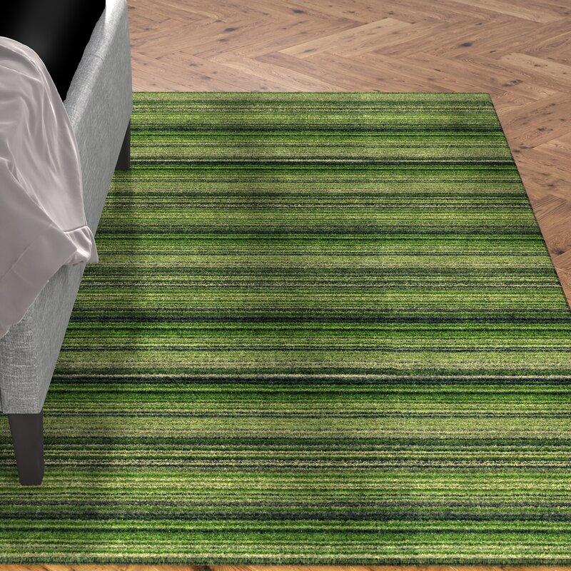 Mercury Row Hand Woven Wool Green Rug