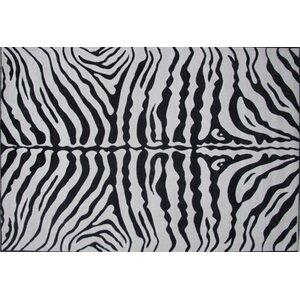 Supreme Zebra Skin Machine Woven Black/White Area Rug