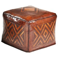 Diamond Saddle Leather Ottoman by New World Trading
