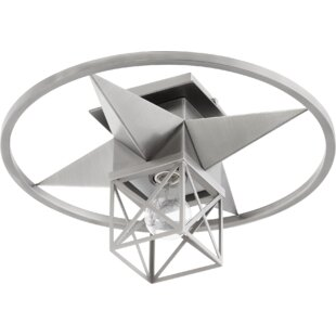 Douglaston Star Cage 1-Light Semi Flush Mount by Breakwater Bay