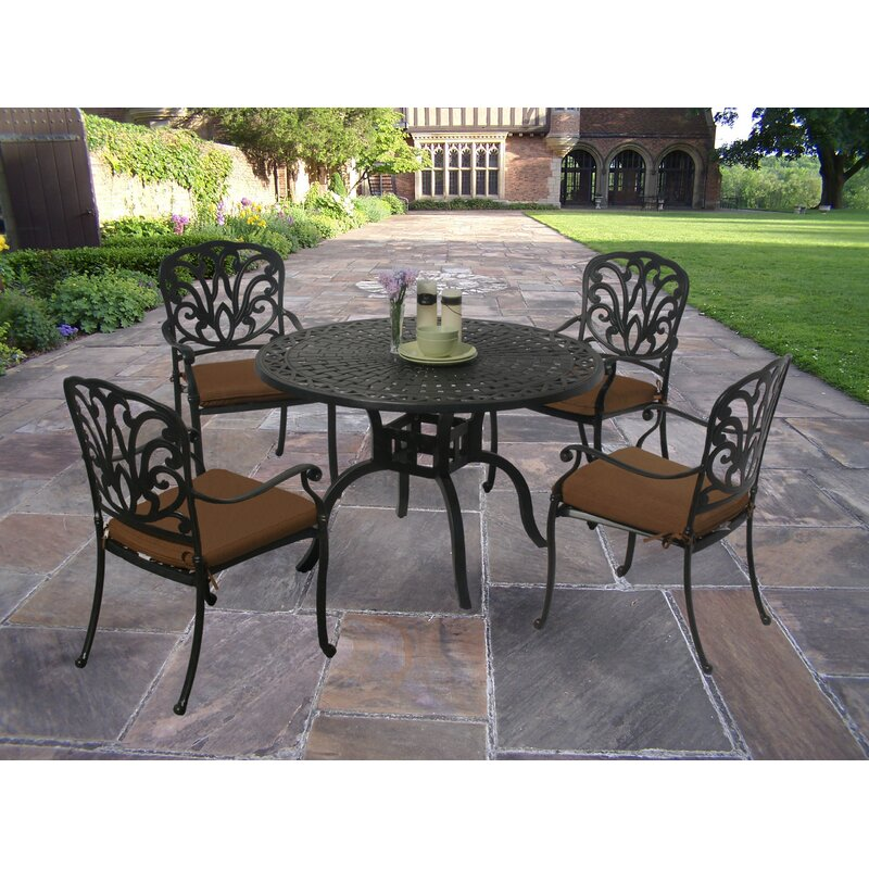 e4df122d752 Darby Home Co Bosch Powder Coated 5 Piece Dining Set with Cushions ...