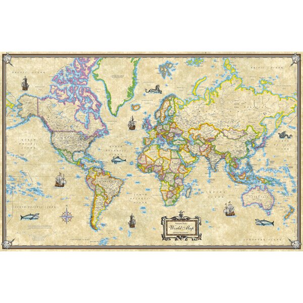 antique style world laminated rolled map