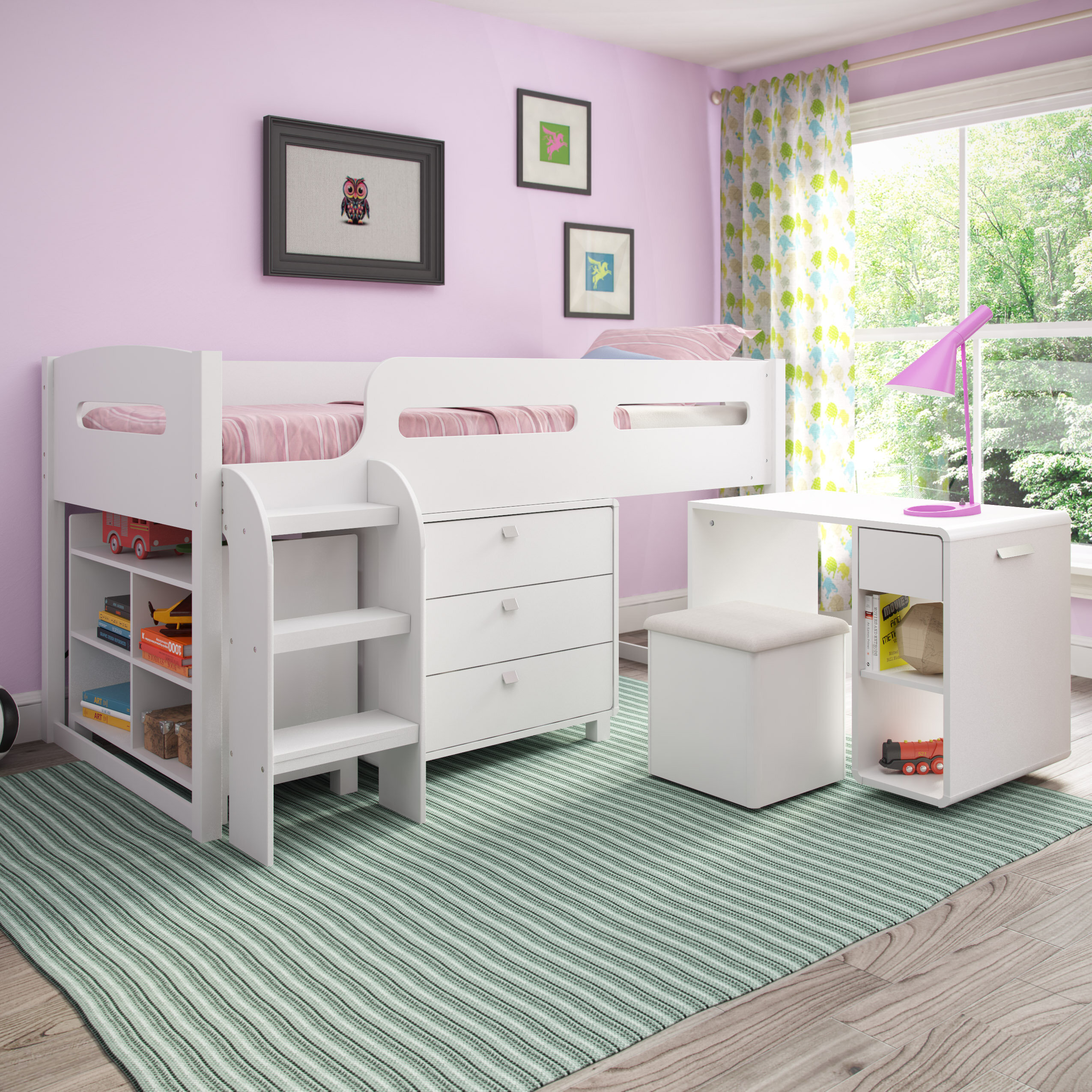 Mack Milo Angelica Twin Low Loft Bed With Drawers And Shelves