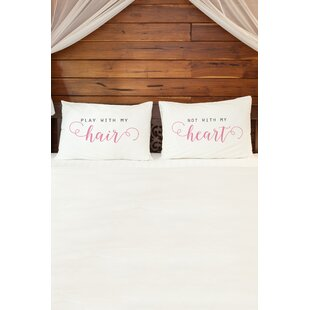 2 Piece Hair and Heart Pillowcase Set